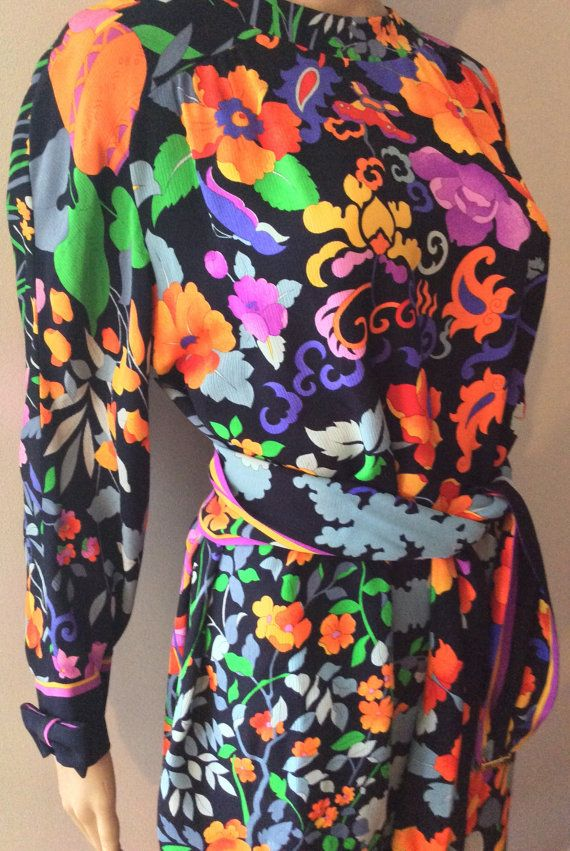 Bright Silk Leonard Paris Floral Poppy Dress Tunic by LyndiLane