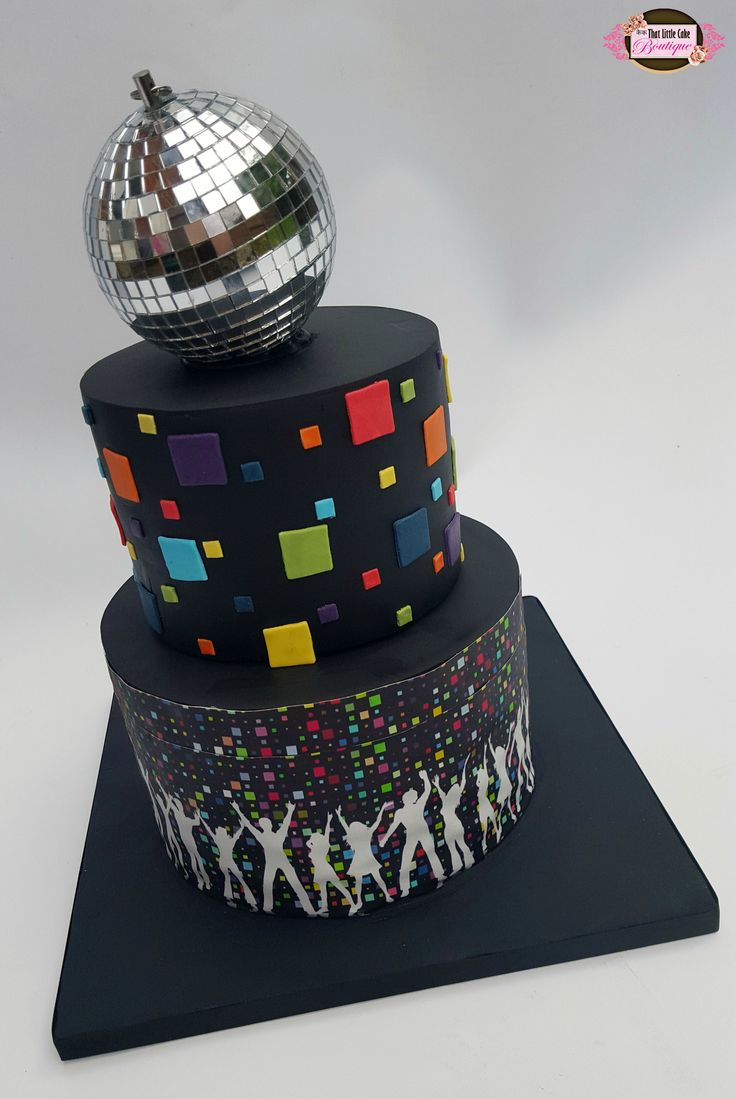 disco cake, round cake, two tier, disco ball, black cake, dancing, satin ice, modern, squares, silhouettes, tlcb, that little cake boutique