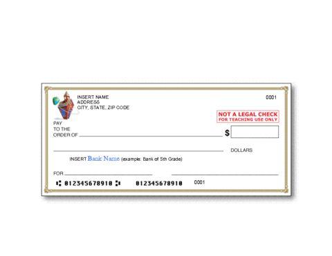 Education World: Bank Check Template