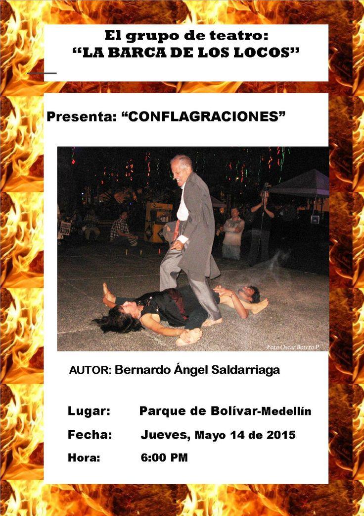 """Presentación de la Obra Teatral """"Conflagraciones"""", escrita por Bernardo Ángel Saldarriaga. Actores: Lucía Agudelo Motoya y Bernardo Ángel Saldarriaga."""