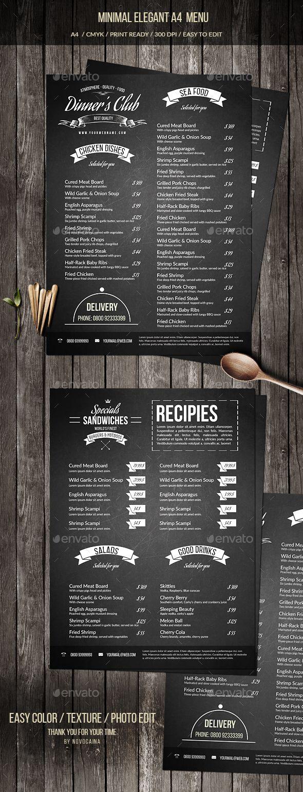 Minimal Elegant A4 Menu Template PSD. Download here: https://graphicriver.net/item/minimal-elegant-a4-menu/17493305?ref=ksioks