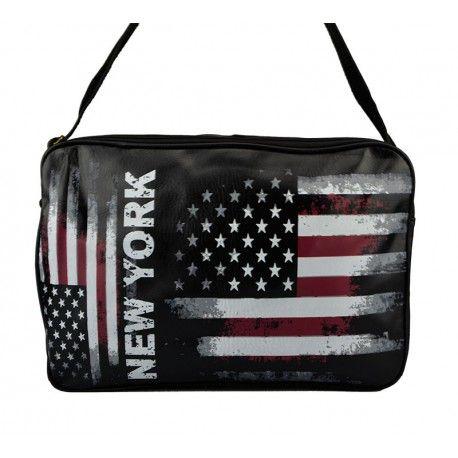 Stor taske med Stars and Stripes flag i mørke farver