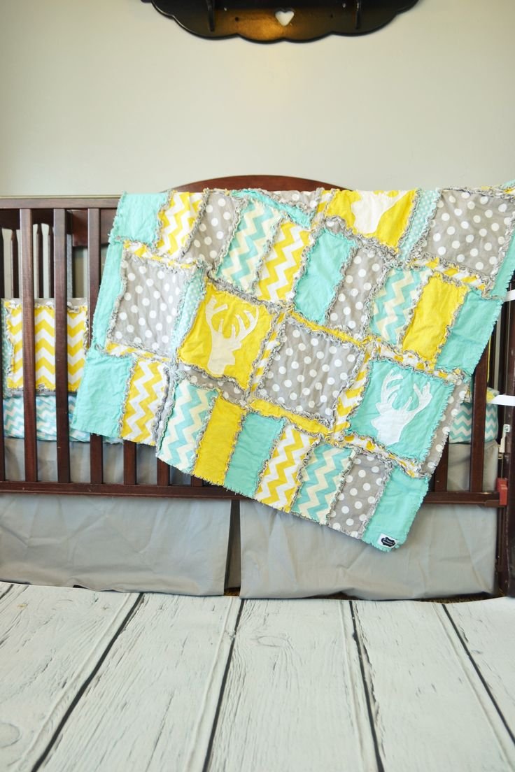 Woodland Baby Crib Bedding for Nursery Deer Theme Yellow, Aqua Blue and Gray INCLUDES MANY Sizes including Crib Set