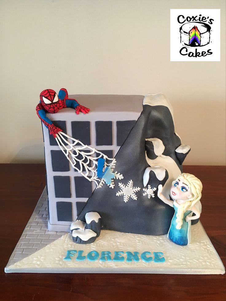 Princess and Superhero cake with Elsa and Spiderman
