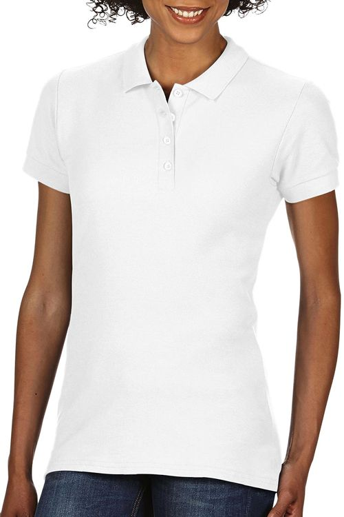 Tricou polo damă alb Softstyle® Double Pique Gildan din 100% bumbac, ring spun #tricouri #polo #albe #femei #persobalizate #brodate