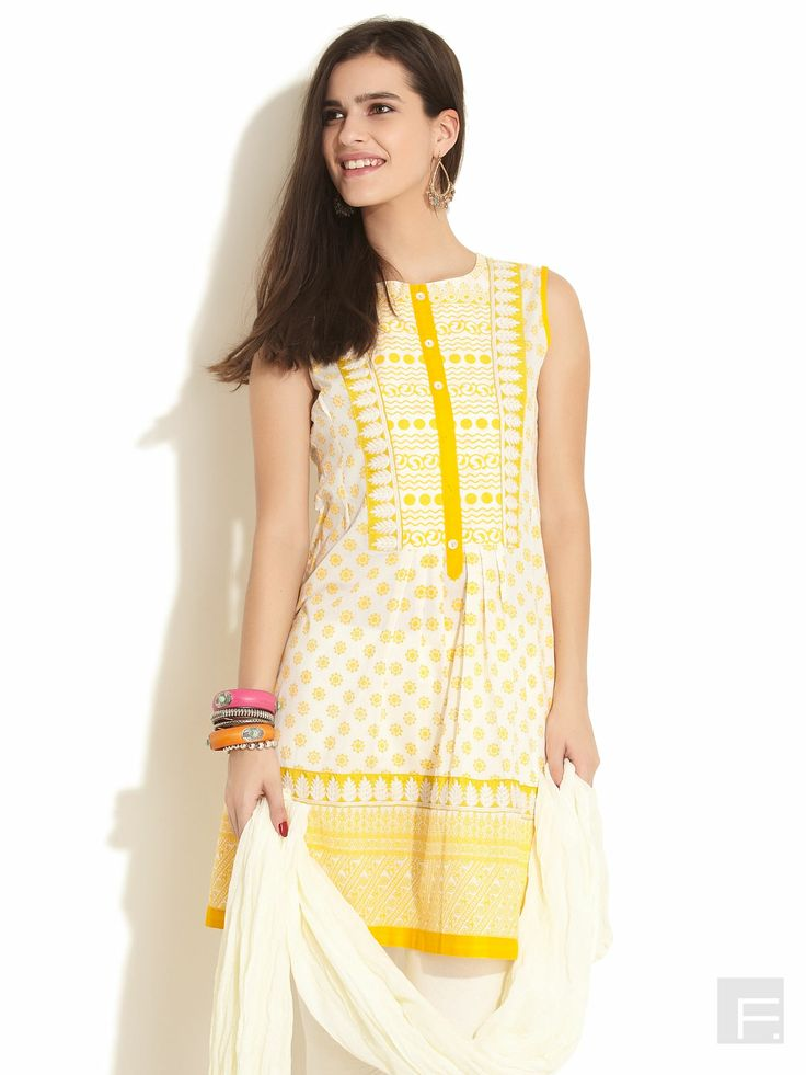Printed Kurti With Leaf Embroidery-Yellow