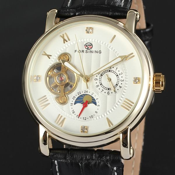 29.38$  Buy here - http://ai0p3.worlditems.win/all/product.php?id=32274118413 - Men's Fashion Mechanical Wrist Watch Decoration Sub Dials Roman Numbers Tourbillon Design White Round Dial Silver Leather Band
