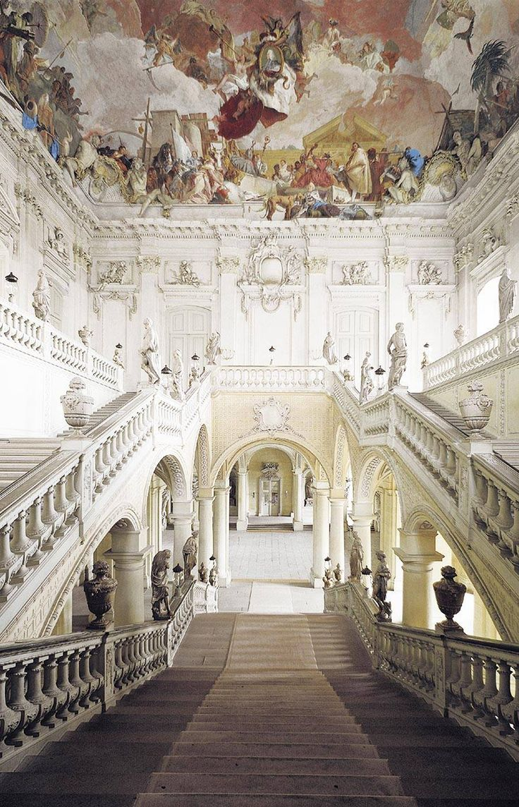 "WURZBURG RESIDENCE, Germany: Balthasar Neumann was the principal architect of the Residenz, which was completed in 1744. The Venetian painter Giovanni Battista Tiepolo, assisted by his son, Domenico, painted frescoes in the building. The building was dubbed the ""nicest parsonage in Europe"" by Napoleon. It was heavily damaged during World War II, & restoration has been in progress since 1945."