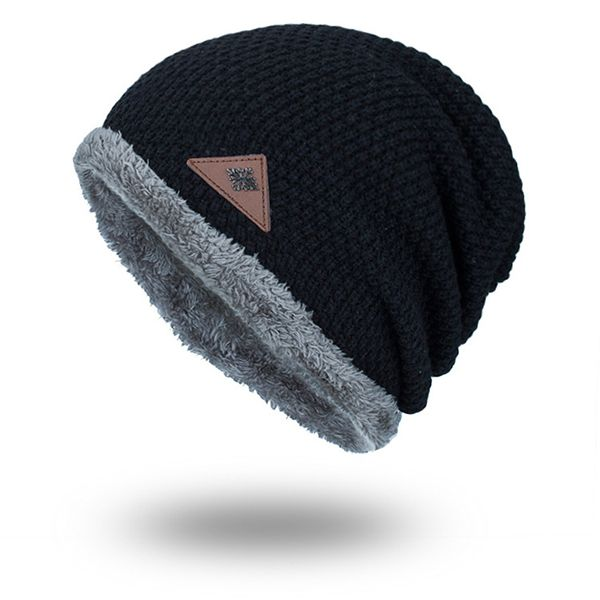 Mens Plus Velvet Warm Knitted Beanie Hat Solid Outdoor Elastic Skull Caps 1ffc15a8d02