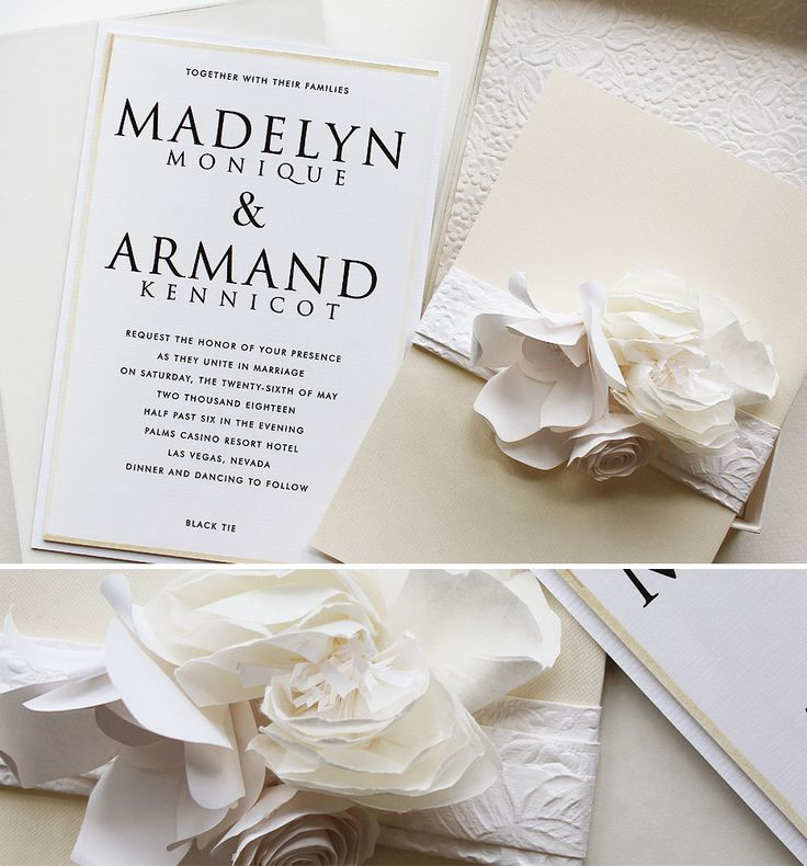 lotus flower wedding invitations%0A Madelyn M   All White Sculpted Bloom Wedding Invites