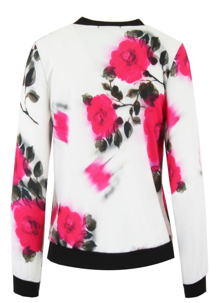 New Womens Ladies Floral Bomber Zip Up Jacket Stretch Long Sleeve Print Flower   eBay