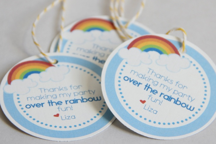 Rainbow Party Favor Tags - Set of 12. $6.00, via Etsy.