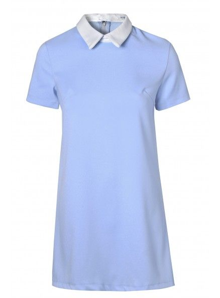Light Blue Shift Dress With White Pointed Collar
