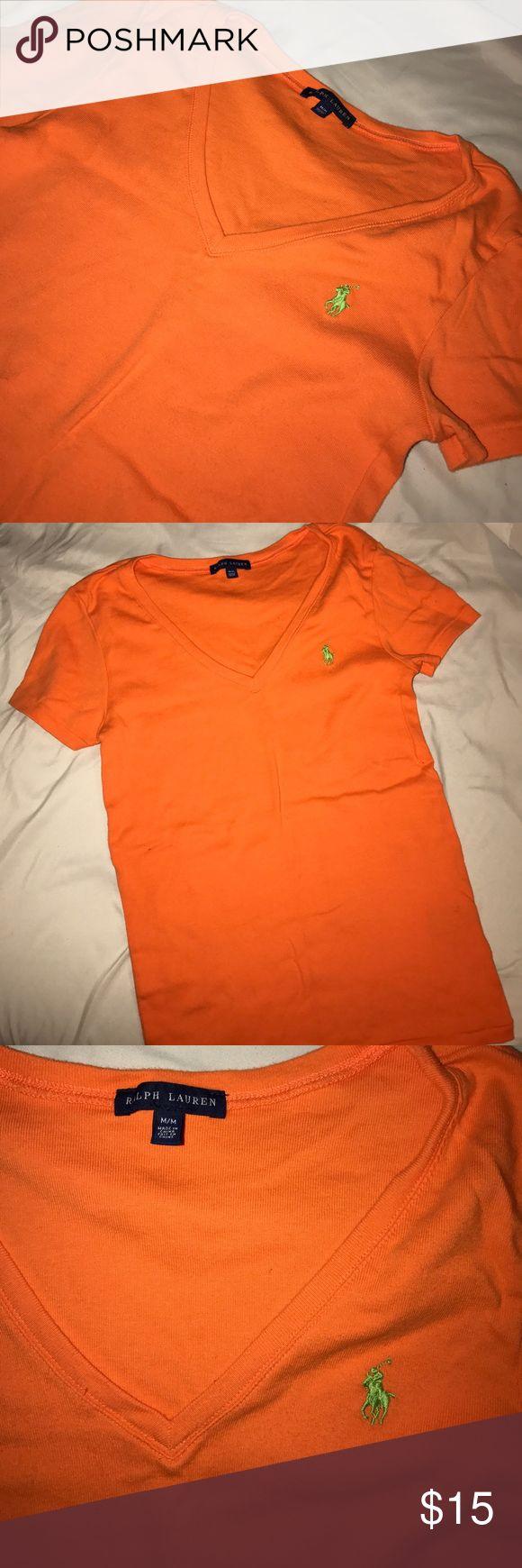 Ralph Lauren Women's V-Neck Top Orange vneck with lime green logo. Very gently worn. Ralph Lauren Tops Tees - Short Sleeve