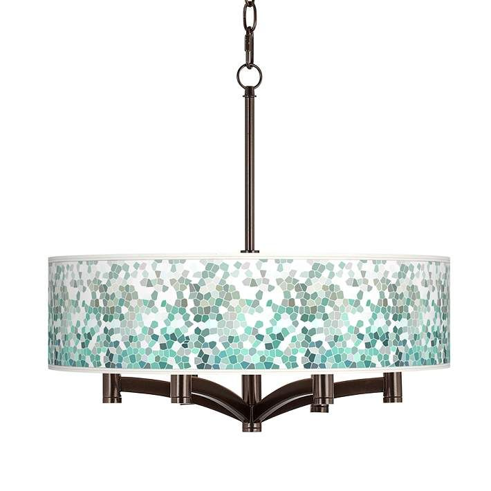 Aqua Mosaic Ava 6-Light Bronze Pendant Chandelier
