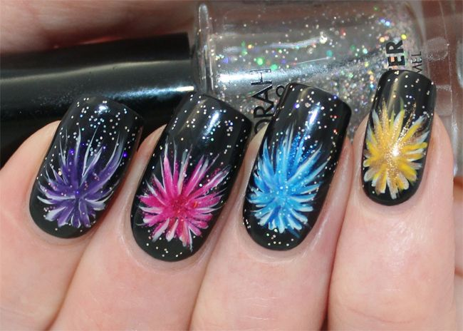 Great Black Firework Nail Art Ideas 2016
