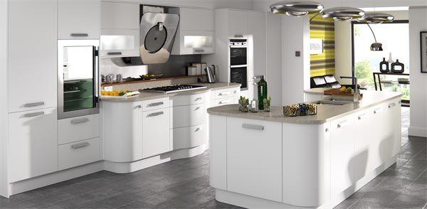 White Kitchen Grey Worktop ultra modern gloss white handless kitchen with quartz grey