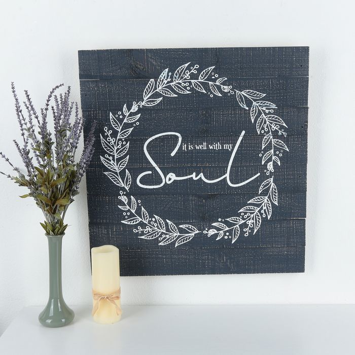 Get It Is Well With My Soul Wall Decor Wood Navy And White 25 X 24 X 1 1 4 Inches Online Or Find Other It Is Well With My Soul Wreath Designs Navy And White