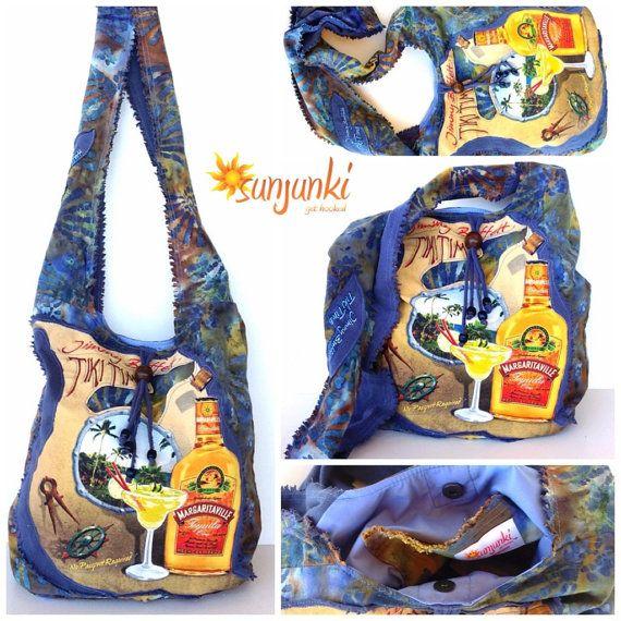 Hippy Satchel Hobo Bag One Of A Kind Up Cycled Tshirt by Sunjunki, $49.00