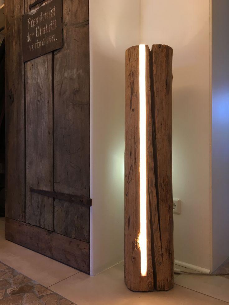 Antik Holz Led Lichtsäule Design Stehlampe Deko Led