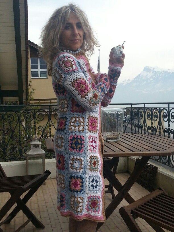 Granny square coat in crochet