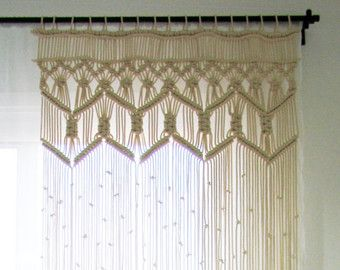 Macrame Wall hanging  Dimensions (approximately): W: 14 inches (36 cm) x H: 53 inches (135 cm)  Macrame wall Hanging made with Jute rope, String and