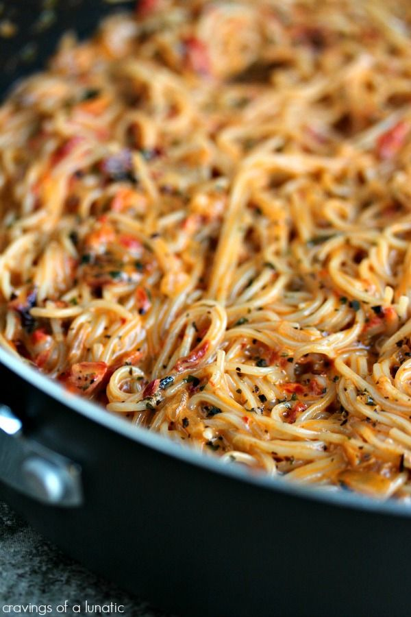 Roasted Red Pepper and Sausage Creamy Pasta -- I want to make it with angel hair, so I pinned this picture even though it's of a slightly different recipe.