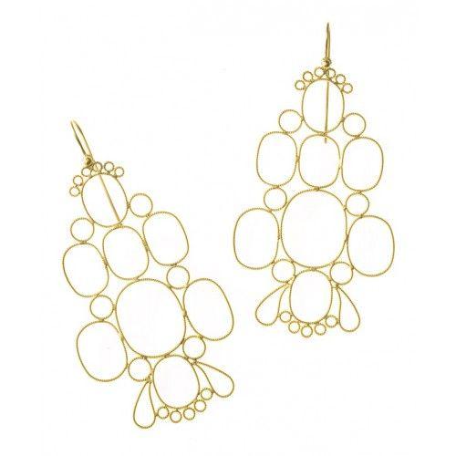 """""""Dentelles"""" Oval Hook Earrings: gold filigree technique"""