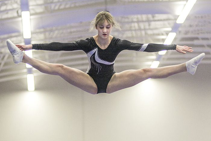 Anna MacDonald from Prince George shows near-perfect form in the double mini-trampoline event at the Langley Events Centre fieldhouse on Sunday (Jan. 18). She won the double L2 mini event and came 3rd on her L3 trampoline event. Flip City hosted the three-day gymnastics meet.
