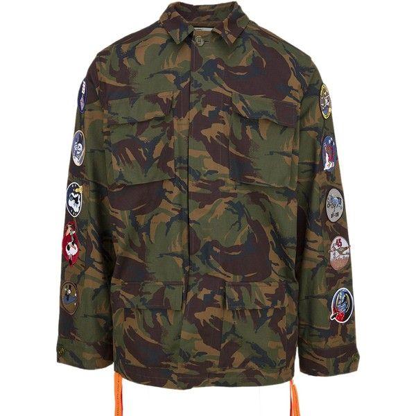 Jacket (12.825.740 IDR) ❤ liked on Polyvore featuring men's fashion, men's clothing, men's outerwear, men's jackets, multicolor, mens leather sleeve jacket, mens oversized denim jacket, mens leopard print jacket, mens camo jacket and mens patch jacket