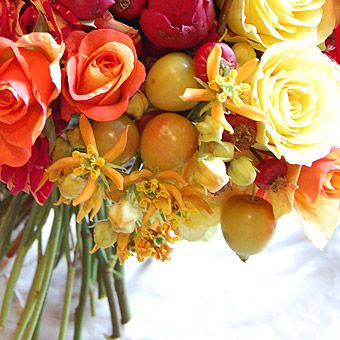 Whimsical Bouquet of Flowers and Fruit