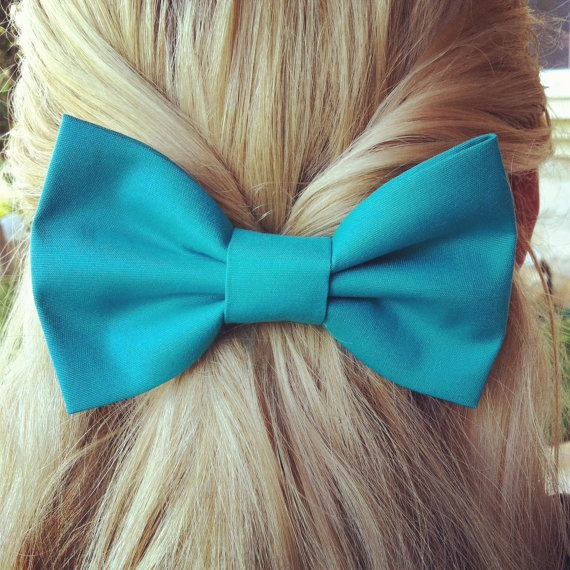 BIG Turquoise hair bow1 by colordrop on Etsy