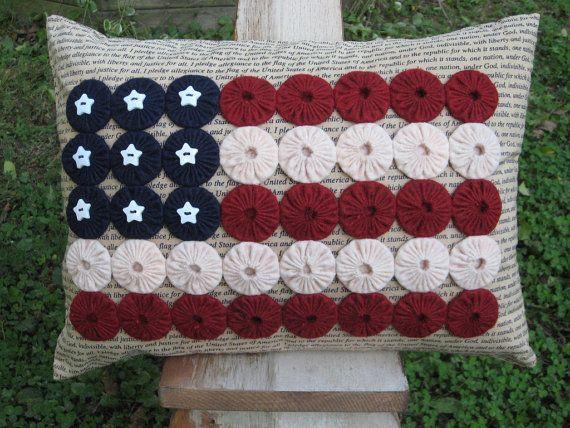 Items similar to Yo-Yo American Flag Decorative Pillow on Etsy