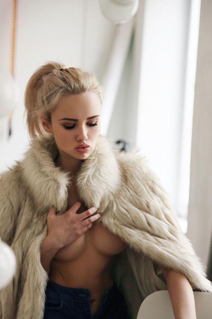 beautiful naked women in fur coats