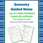 This two guided, color-coded notebook pages for the interactive math notebook on the Area Formulas for 2-Dimensional Figures. (rectangle, triangle,...