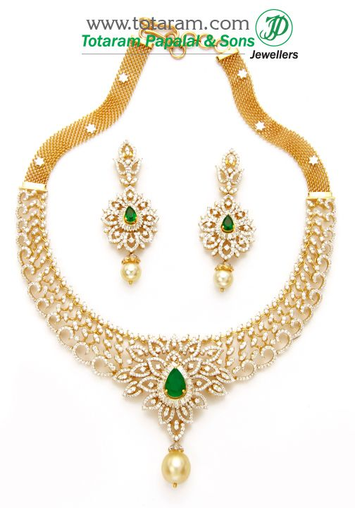 Totaram Jewelers: Buy 22 karat Gold jewelry & Diamond jewellery from India: 18K Gold Diamond Necklace & Earrings Set with Ruby , Onyx & South Sea Pearls