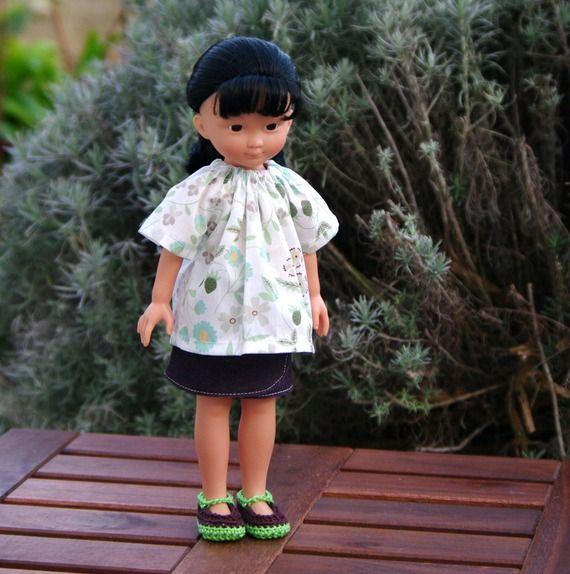 vêtements jupe, tunique et chaussures pour poupée type les Chéries de Corolle 32/33 cm