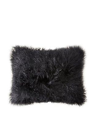 Belle Epoque Mongolian Lamb Boudoir Pillow (Black)