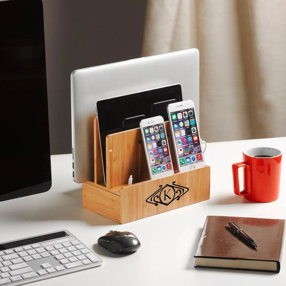 Deluxe customized bamboo multi charging station with USBAC