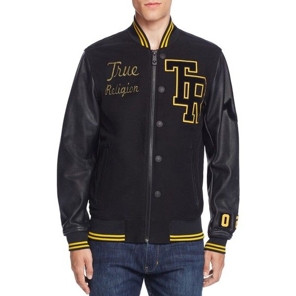 true religion collegiate moleskin letter jacket 359 liked on polyvore featuring mens fashion