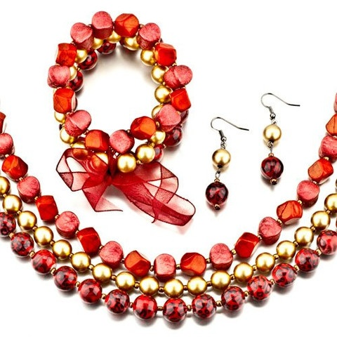 Gorgeous Rich Red and Gold Necklace, Earring and Bracelet Set ... come by our store ... www.gemsoffaith.ca    $19.99