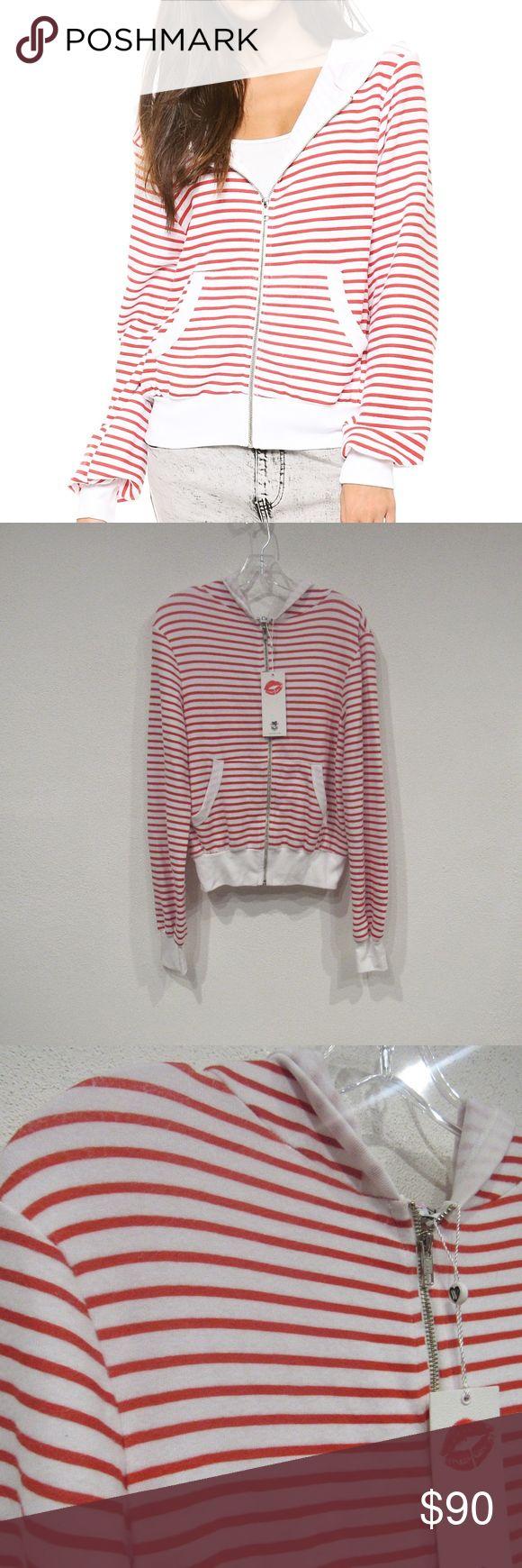 Wildfox Malibu Stripe Zip Up Hoodie New with tags. Fabric: Jersey. 47% rayon/47% polyester/6% spandex. No trades. 1101 Wildfox Tops Sweatshirts & Hoodies