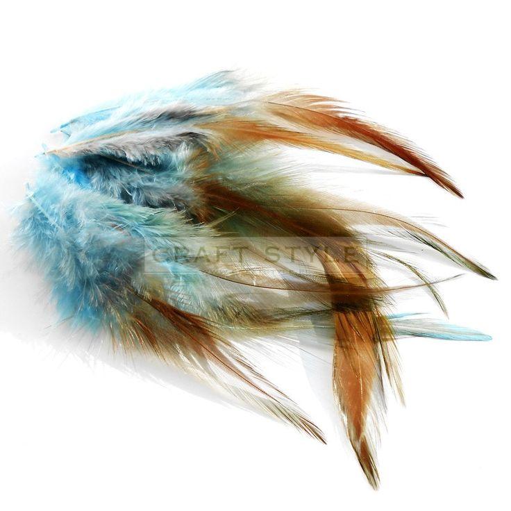 CELEBES pióra koguta 10-15 cm 10szt  BŁĘKITNO-BRĄZOWY