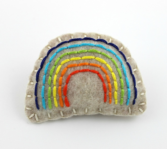 Felt & Embroidery Rainbow Pin by lovahandmade on Etsy