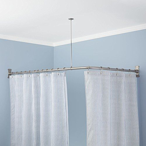 "Extra-Heavy Corner Shower Curtain Rod (60″ L x 30″ W) – Brushed Nickel   Extra-Heavy Corner Shower Curtain Rod (60"" L x 30"" W) - Brushed Nickel Surround a two-sided shower space with this Extra-Heavy Corner Shower Curtain Rod, made of durable brass to endure moisture in the bathroom. This set includes a ceiling support, heavy-duty flanges, wall anchors and screws for a secure installation. 36"" ceiling support. May be cut to desired length. Includes heavy-duty flanges, set screws, mou.."