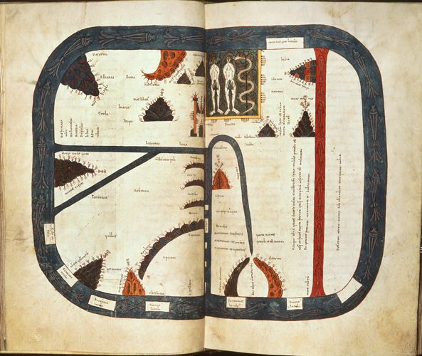 Map of the world. Mappa Mundi with the earth surrounded by the ocean and including the garden of Eden with Adam and Eve being tempted by the snake; and numerous inscriptions identifying geographical regions and cities.  Origin:	Spain, N.