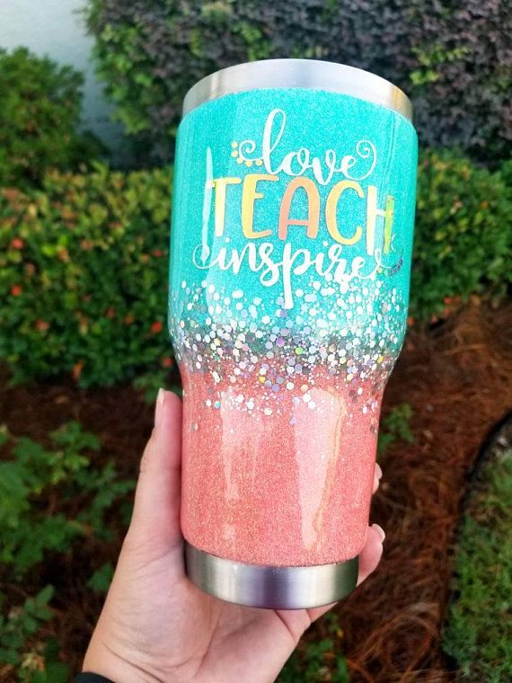 4ce0df092f0 Love Teach Inspire Teacher Glitter Tumbler Custom Personalized Gift ...
