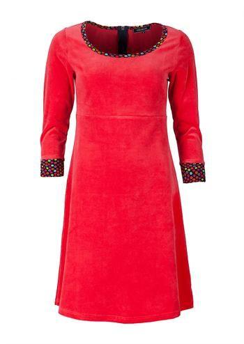 Charles kjole rød velour   Rød velour kjole fra Charles hos denckerdeluxe
