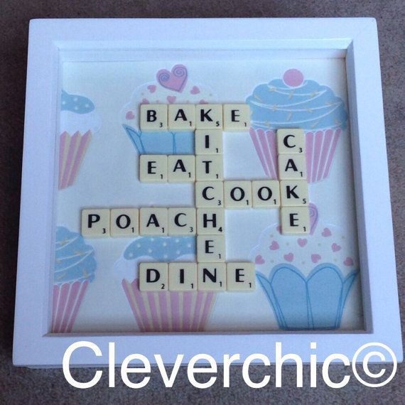 Scrabble Art Frame, Kitchen Wording on a Cupcake Background, Scrabble Frame…