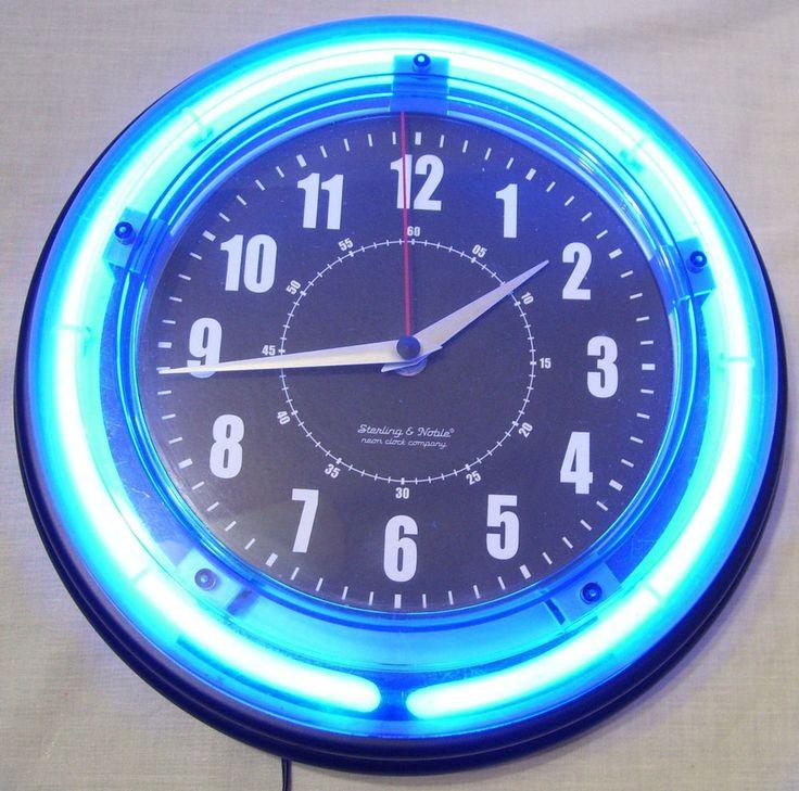 "Sterling & Noble Neon Clock Company 11"" Blue Neon Wall Clock Retro Diner Look"